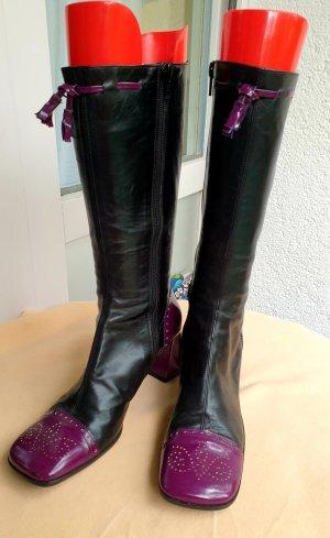 LAURA elegante schwarz-violett Leder  Stifel