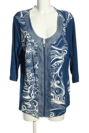 Laura Kent Cardigan blau-weiß abstraktes Muster Casual-Look