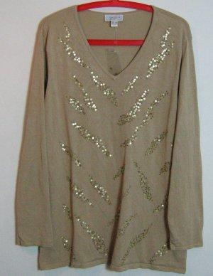 LAURA KENT Festlicher Pullover Größe 48 Beige Pailletten