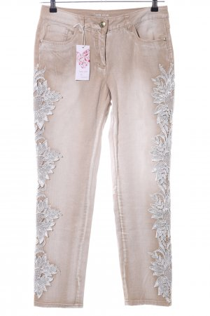 Laura Kent Low-Rise Trousers cream-light grey flower pattern casual look