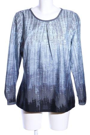 Laura Kent Langarm-Bluse blau-hellgrau abstraktes Muster Casual-Look