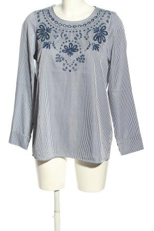 Laura Kent Langarm-Bluse blau-weiß Allover-Druck Business-Look