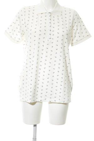 Laura Kent Polo-Shirt weiß-schwarz Allover-Druck Casual-Look