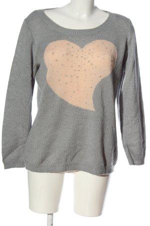 Laura Kent Maglione lavorato a maglia grigio chiaro-crema stile casual