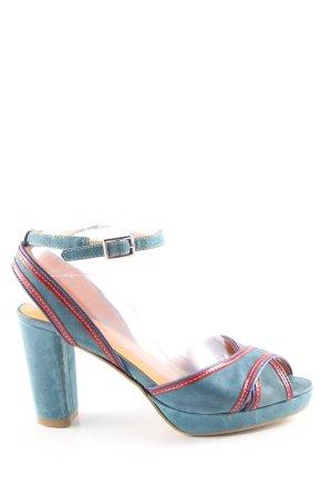 Laura Sandales à talons hauts et lanière turquoise-rouge style décontracté