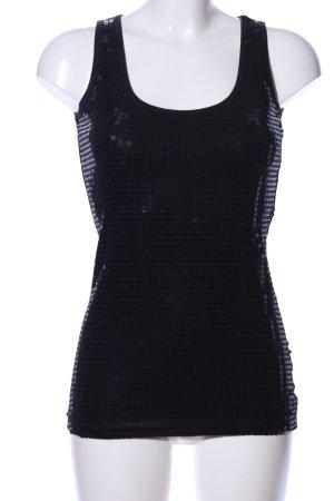 Laura Scott Basic topje zwart gestippeld patroon wetlook