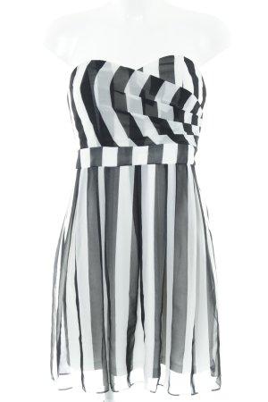 Laura Scott Corsagejurk wit-zwart gestreept patroon Jaren 80 stijl