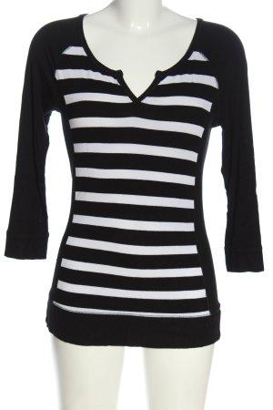 Laura Scott Feinstrickpullover schwarz-weiß Streifenmuster Casual-Look
