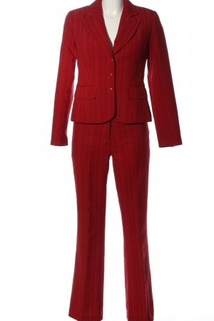 Laura Scott Trouser Suit red striped pattern business style