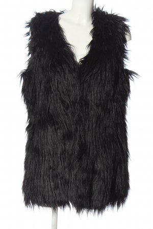 Laura Scott Fake Fur Vest black casual look