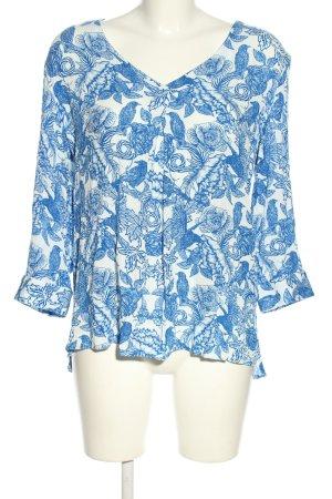 Laura Scott Kurzarm-Bluse blau-weiß Blumenmuster Casual-Look