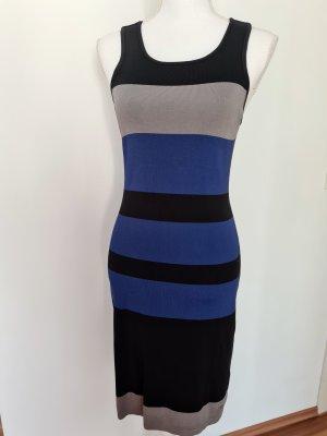 Laura Scott Midikleid Kleid Schlauchkleid Stoffkleid schwarz grau blau gestreift Gr. 36