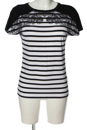 Laura Scott Maglietta a righe bianco-nero motivo a righe stile casual