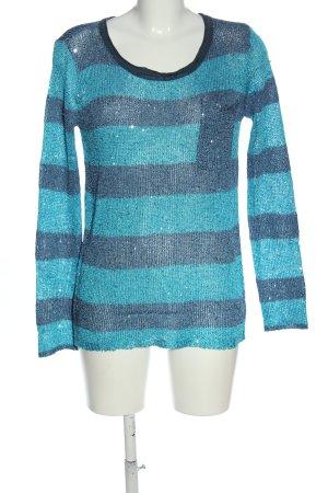Laura Scott Rundhalspullover blau Streifenmuster Casual-Look