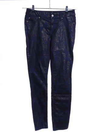 Laura Scott Skinny Jeans blau-schwarz Blumenmuster Casual-Look
