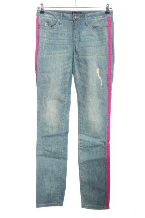 Laura Scott Skinny Jeans blau-pink Streifenmuster Casual-Look