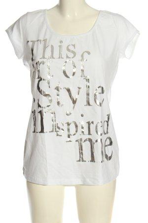 Laura Scott T-Shirt weiß Schriftzug gedruckt Casual-Look