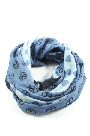 Laura T: Écharpe ronde bleu-noir imprimé allover style décontracté