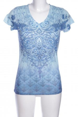 Laura T: T-Shirt blau abstraktes Muster Casual-Look