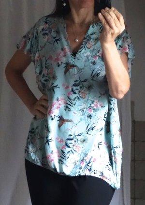 Laura Torelli Bluse, floral gemustert, Rüsche am Ärmel, V-Ausschnitt mit Stehkragen und Knopfleiste, Gummizug am Saum, 100% Viskose, leicht, fließend, zartes türkis / aqua, Blumen Print in schwarz rosa, weiß, feminin romantisch, TOP Zustand, Gr. XL, Gr. 4