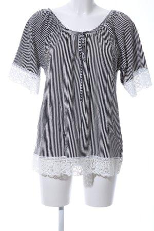Laura Torelli Camisa tipo Carmen blanco-negro estampado a rayas look casual