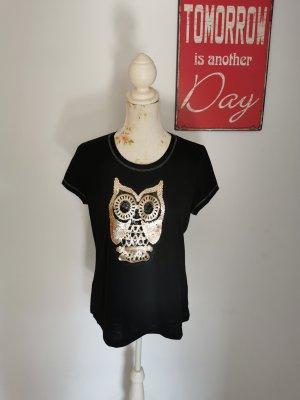 Laura Torelli Damen Shirt T-Shirt kurzarm Eule schwarz Größe 40