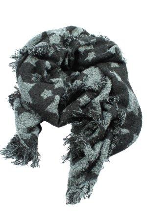 Laura Torelli Bufanda de flecos negro-gris claro look casual