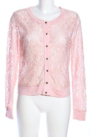 Laura Torelli Crochet Cardigan pink mixed pattern elegant