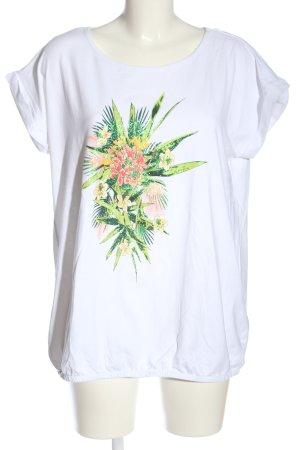 Laura Torelli Kurzarm-Bluse weiß Blumenmuster Casual-Look