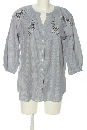 Laura Torelli Langarm-Bluse schwarz-weiß Blumenmuster Casual-Look