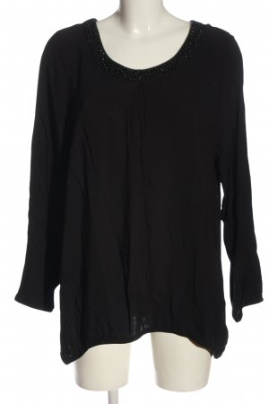 Laura Torelli Blusa de lino negro estilo «business»