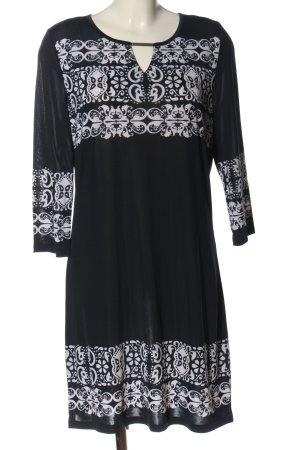 Laura Torelli Langarmkleid schwarz-weiß Motivdruck Casual-Look