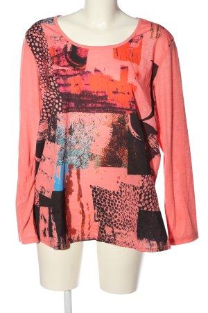 Laura Torelli Longsleeve pink-schwarz abstraktes Muster Casual-Look