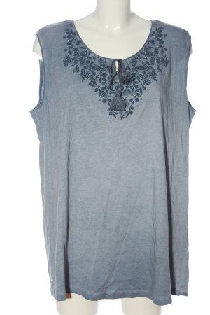 Laura Torelli Długi top niebieski-jasnoszary Wzór w kwiaty W stylu casual