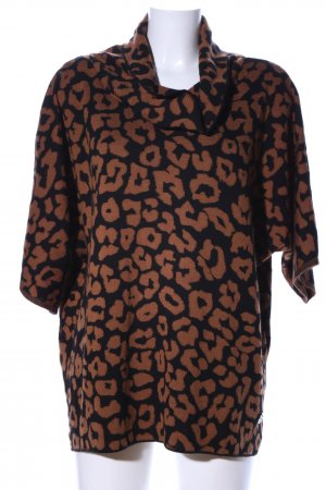 Laura Torelli Turtleneck Sweater black-brown allover print casual look