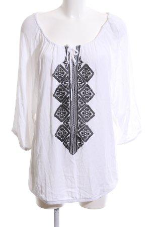 Laura Torelli Schlupf-Bluse weiß-schwarz grafisches Muster Casual-Look
