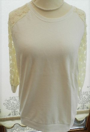 Laura Torelli Shirt mit Spitzen Ärmel - weiß - Gr.L - neu