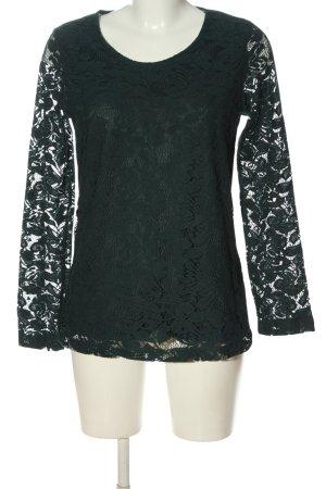 Laura Torelli Koronkowa bluzka zielony Wzór w kwiaty W stylu casual