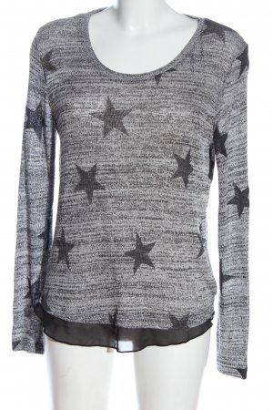 Laura Torelli Knitted Sweater light grey-black allover print casual look