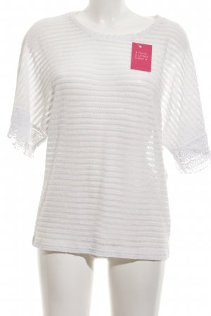 Laura Torelli Strickshirt weiß Streifenmuster Business-Look