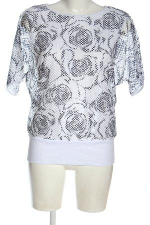Laura Torelli Strickshirt weiß-hellgrau Blumenmuster Casual-Look