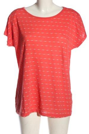 Laura Torelli Strickshirt rot-wollweiß Streifenmuster Casual-Look