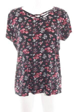 Laura Torelli T-Shirt schwarz-rot Blumenmuster Casual-Look
