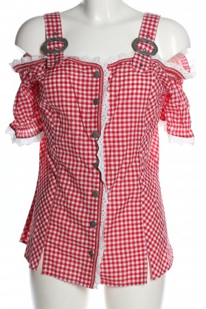 Laura Torelli Traditional Blouse red-white check pattern casual look