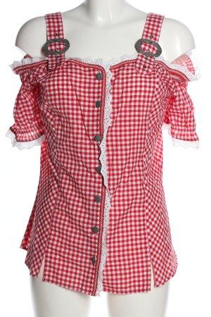 Laura Torelli Blusa tradizionale rosso-bianco motivo a quadri stile casual