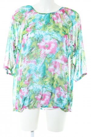 Laura Torelli Transparenz-Bluse grün Allover-Druck Casual-Look