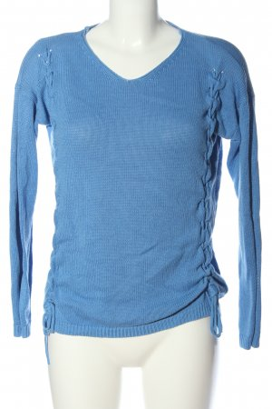 Laura Torelli V-Neck Sweater blue casual look