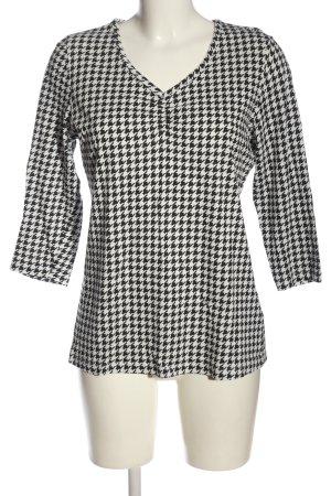 Laura Torelli Camisa con cuello V negro-blanco estampado con diseño abstracto