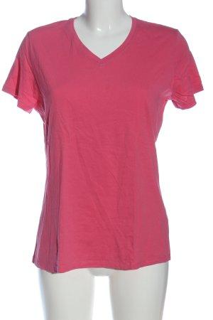 Laura Torelli V-Ausschnitt-Shirt pink Zopfmuster Casual-Look