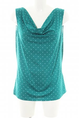 Laura Torelli Cowl-Neck Shirt turquoise-white allover print casual look